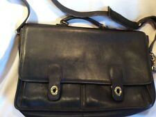 COACH Vintage Black Glove-Leather Briefcase Laptop Shoulder Bag - Unisex