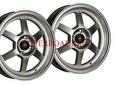 TRAKLITE LAUNCH DRAG REAR SKINNIES WHEELS PAIR HYPER SILVER 15X3.5 4X100 +10