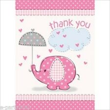 (8) UMBRELLA ELEPHANT GIRL THANK YOU NOTES ~ Baby Shower Party Supplies Cards