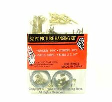 132 PC PICTURE HANGING KIT Hangers Eyehooks Nails Wires Hardware Hooks Wire I
