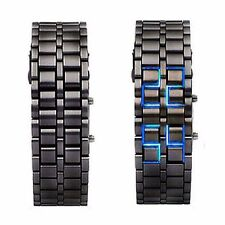 Black Digital Lava Wrist Watch Iron Metal Blue LED Metal Samurai Mens Boys L02