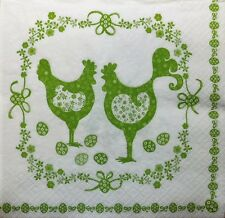 4 X PAPER NAPKINS   EASTER  EGGS green folklore chickens  DECOUPAGE  CRAFTING W8