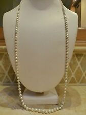 """Antique Art Deco 14k white gold filigree 30"""" long faux pearl strand necklace"""