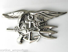 US NAVY SEALS / SEAL TEAM EXTRA LARGE SILVER COLORED TRIDENT PIN 2.75 INCHES