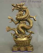 """11"""" Chinese Feng Shui Pure Brass Soaring Dragon Loong Weatlh YuanBao Coin Statue"""