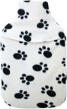 Cosy Fleece 1 Litre Mini Hot Water Bottle & Cover: Cream Paw Print Design