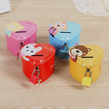 New Candy Color Cute Love Creative Piggy Bank Tin Money Box With Lock Child Gift