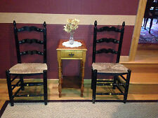 2 Antique Hitchcock Style CHAIRS Ladderback Wicker Rush Seat Set Black c1900 USA
