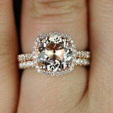 Women's 14K Rose Gold Over Women's Halo Engagement & Wedding 2ps Bridal Ring Set