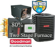 3 Ton Goodman 14 seer 80% 60K btu TWO STAGE HORIZONTAL Gas Furnace System+tst