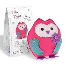 TILLY TOOTS - Cuddly Pink Felt Owl Sewing Kit for Adults & Kids Age 8+ by CLARA