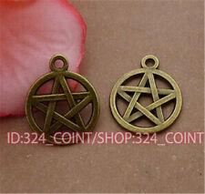 P464 15pcs Antique Bronze pentagram Pendant Bead Charms Accessories wholesale