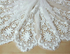 "Lace Fabric Ivory Tulle Floral Cotton Embroidery Wedding Veil Bridal 53"" width"