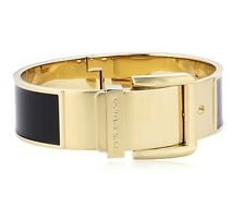 Michael Kors MKJ2553 Wide Buckle Enamel Bracelet in Black /Gold-Tone $125