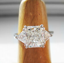 Unique EGL Certified 2.80 Ct. 3-stone Radiant Cut Engagement Ring G, VS1 14k WG