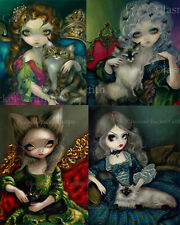 Jasmine Becket-Griffith rococo SIGNED Princesses with Cats set of 4 art prints