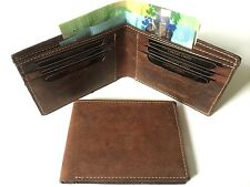 Mens Wallet Premium Hunter Leather w/ 6 Credit Cards Holder- Dark Brown (AE-121)