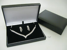 New Luxury Black Leatherette Necklace Jewellery Gift Box Case Space For Earrings