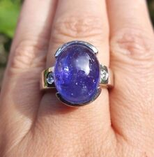 Beautiful 13 Carat Tanzanite cabochon Diamond 14k white gold ring