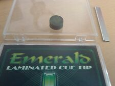 EMERALD 14MM  QUALITY STICK-ON  NINE BALL POOL CUE TIP - per tip
