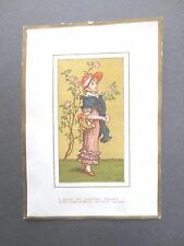 ANTIQUE Christmas Card  Kate Greenaway Marcus Ward Little Girl Regency Dress