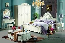 White timber frame Queen bed with Soft Genuine Leather cushion attached