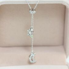 18K White Yellow Rose Gold Plated Swarovski Crystal Star Moon Pendant Necklace