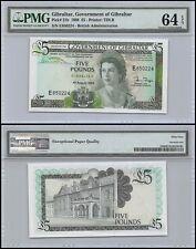 Gibraltar 5 Pounds, 1988, P-21b, UNC, Queen Elizabeth II (QEII), PMG 64 EPQ