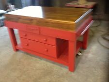 NEW red 4 drawer ISLAND BENCH side grain butchers block     as seen on mastechef
