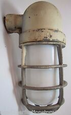Old Grouse Hinds Explosion Proof Industrial Light Cage White Milk Glass Globe