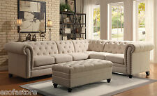 Traditional Formal Button Tufted Oatmeal Sectional Sofa Armles Chair Living Room