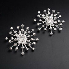 1 Pair Rhinestone Shoe Clips Snowflower Crystal Tone Boots Shoe Buckle Accessory