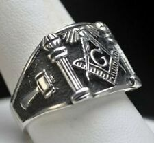 LOOK STERLING SILVER 925 free mason MASONIC RING Size 12