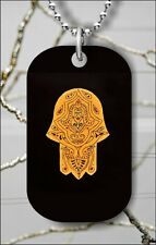 HAMSA HAND JUDAIC EVIL EYE KABBALAH DOG TAG NECKLACE PENDANT FREE CHAIN -fcv6Z