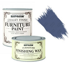 Rust-Oleum Chalky Furniture Paint Chic Shabby 125ml Ink Blue & 400ml Clear Wax