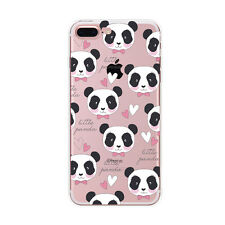 Rubber PANDA Pattern Crystal Clear Soft TPU Case Cover For iPhone 5 6 6s 7 Plus