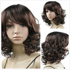 Women Fashion Short Brown Curly Fancy Dress Costume Cosplay Party Hair Full Wigs