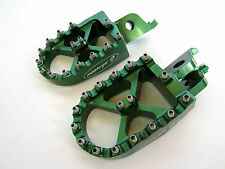 Warp 9 Billet Footpegs Green Kawasaki KXF 450 KX450F 07 08 09 10 11 12 13 14 NEW