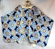 ~New GROOVY GLAM Sherpa Lined Velvet Plush Women's Poncho OS+ BLUE SCROLL Spring