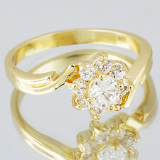 Korean Pretty Womens Rhinestone Flower Ring 14K Yellow Gold Filled Size 7.5