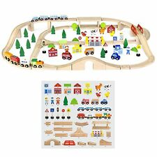 Viga 90 Piece Wooden Toy Train Track - Playset Push-Along - Childrens/Kids