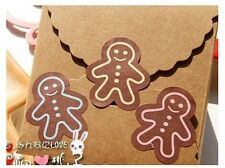 Fun 24 Gingerbread Man Seal Sticker Black Christmas DIY/Craft/ Card Making *UK*