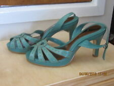 Marks & Spencer Green Leather Strappy shoes.