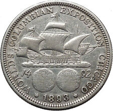 COLUMBIAN HALF Dollar COLUMBUS Ship Worlds Fair Silver United States Coin i43058