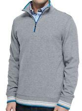 Robert Graham Pipeline Reversible Half Zip Sweater Grey Cotton Sz Small NEW $198