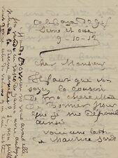 Juliette ADAM Lettre autographe signée à un monsieur. George Sand. 1913