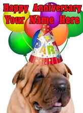 Shar-Pei  dog Happy Anniversary Party hat Card codesha Personalised Greetings