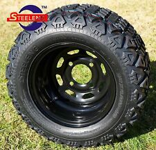 "GOLF CART 10"" BLACK STEEL WHEELS/RIMS and 18""x9""-10"" DOT ALL TERRAIN TIRES (4)"