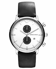 BRAND NEW EMPORIO ARMANI AR0385 SILVER STEEL CASE BLACK LEATHER BAND MEN'S WATCH