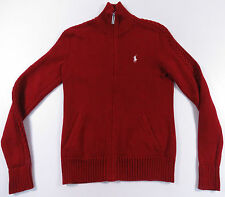 RALPH LAUREN SPORT RED WHITE PONY FULL ZIP WOMENS KNIT SWEATER JACKET EUC POLO